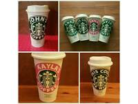 Personalised Reusable starbucks 16oz coffee cup