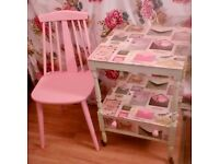 pretty shabby chic tea trolley and chair - candy colours
