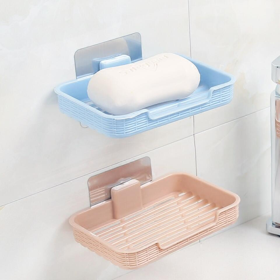Bathroom Wall Suction Cup Bath Shower Container Soap Box Holder Case Basket