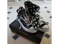 d2745b220c1 Black Converse trainers with white stars. UK size 7