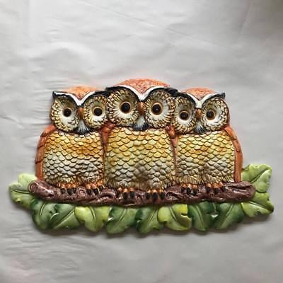 N / OWLS 40CM WANDDEKORATION-  AUS ITALIEN NEU! (Keramik-eulen)