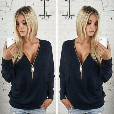 Women Fashion Sexy Deep V-Neck Zipper Sweater Batwing Sleeve Blouse Long Sleeved