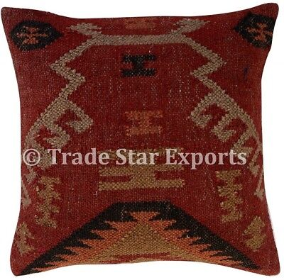 Hand Woven Kilim Rug Pillow Case 18x18 Vintage Handmade Jute Throw Cushion (Hand Woven Throw Pillow)