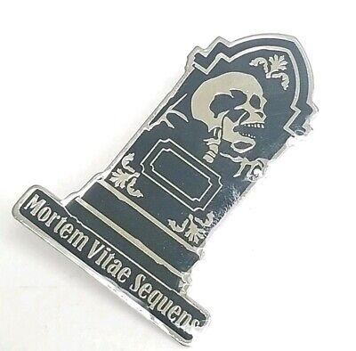 Mortem Vitae Sequens Skeleton Head Stone Funeral Gothic Lapel Pin
