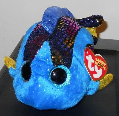 "Ty Beanie Boos ~ AQUA the 6"" Fish ~ Stuffed Plush Toy (NEW) 2017 Design ~IN HAND"