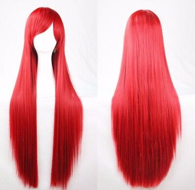 Costume Red Wig (Red 80cm Women Long Straight Hair Wig Fashion Costume Party Anime)