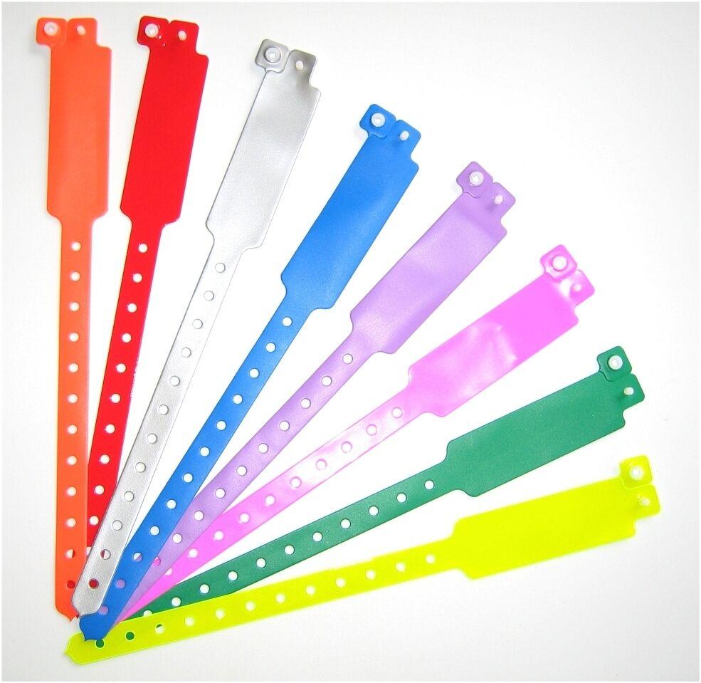 50 Plain Neon Green L Shaped Plastic Vinyl Wristbands Event Parties Festivals