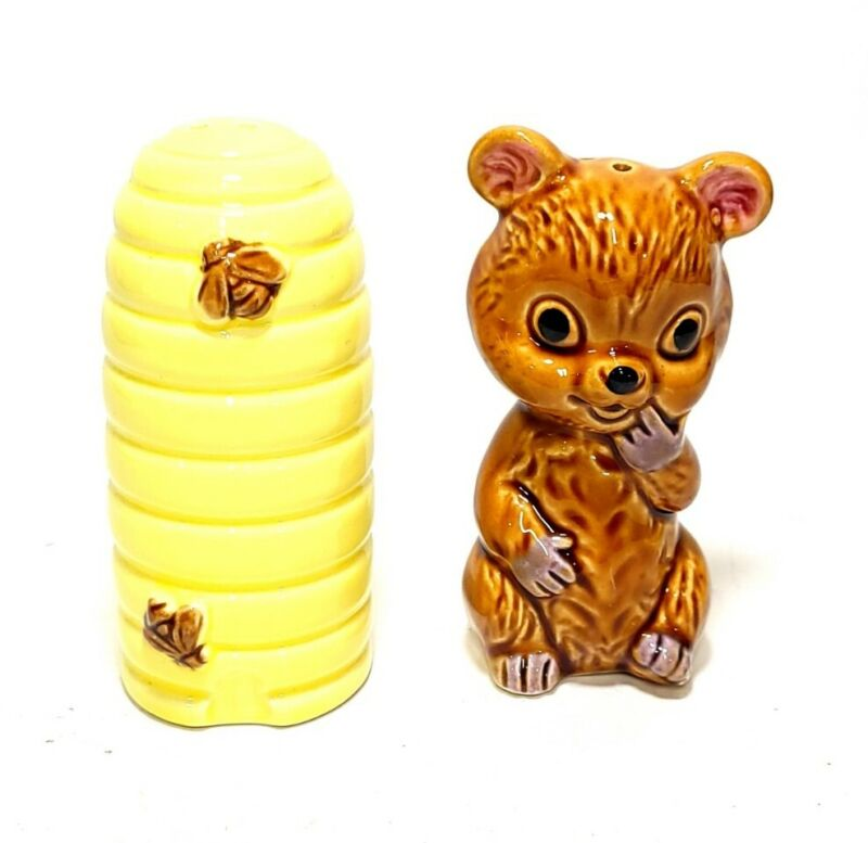 SALT & PEPPER SHAKERS Vintage Ceramic Honey Bear and Beehive Made in Japan