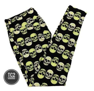 LulaRoe TC2 Halloween 2020 Skulls Leggings - Black Background - NWT
