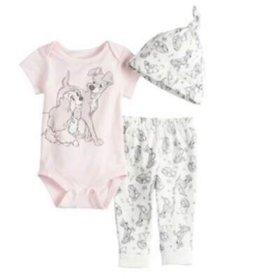 DISNEY LADY AND THE TRAMP 3 PIECE BABY OUTFIT SIZE NB 3 6 9 12 18 MONTHS NEW! - Disney Outfit
