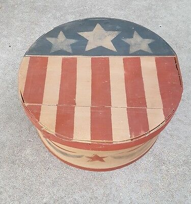 Stars & Stripes OOAK Painted Wood Cheese Box Americana Primitive USA Folk Art - Art Boxes