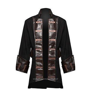 MEN'S GOTH-STEAMPUNK ANTIQUE PENDANT PIRATE COSTUME COAT JACKET (Steampunk Pirate Coat)