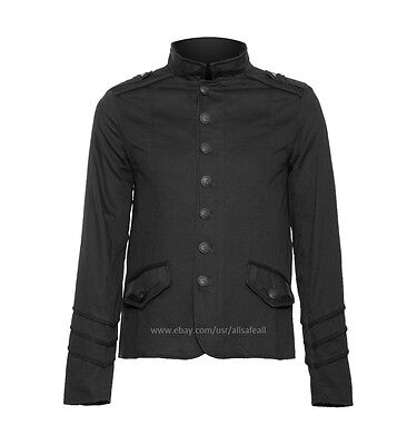 Men's officer Black Goth Steampunk jacket with braided lining - Steampunk Jacket Mens