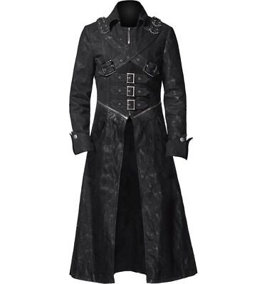 Men's Black Goth Steampunk Real Leather Gothic Pirate Coat Costume - Real Pirate Costumes