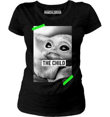 Star Wars - The Mandalorian Baby Yoda Damen T-Shirt (S-XL) Schwarz