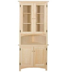 Attractive AMISH Unfinished Solid Pine CORNER HUTCH China Cabinet Country HANDMADE WOOD