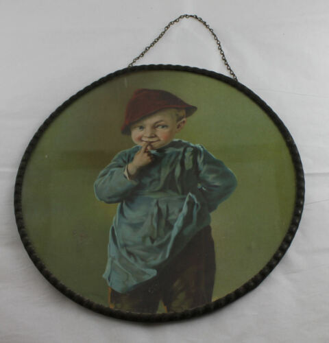Antique Flue Covering Little Boy Scene Germany Marked