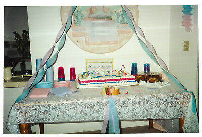 Vintage 80s PHOTO Baby Shower Cake On Table w/ Decorations](80s Table Decorations)