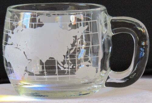 1970 VTG Advertising EUC Around The World NESTLE Coffee MUG Clear w.ETCHED WORLD