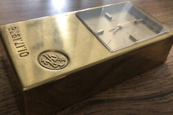 "SEIKO 1970s Modern Desk Table Office Clock Alarm Quartz ""GOLD BRICK"" Theme"