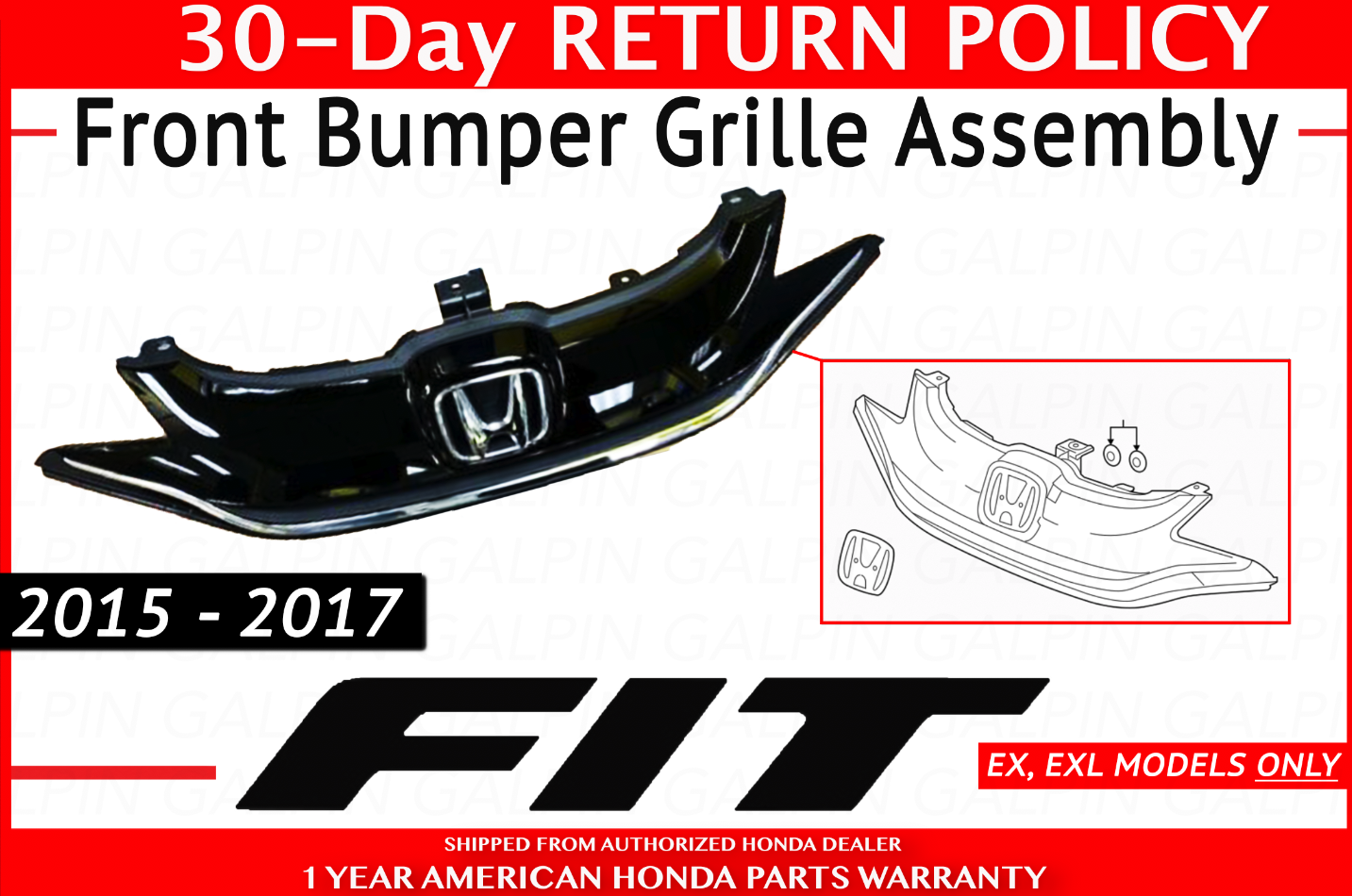 ? Genuine Honda Fit Front Bumper Grille Assembly OEM 71120-T5R-A10 ?