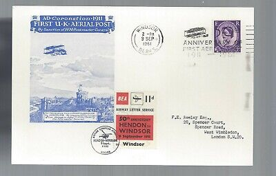 1961 50th Anniv  First UK Aerial Post maxi-card w/ Airway Letter Service frankin