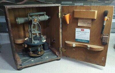 Antique Keuffel Esser Paragon Survey Transit In Original Wooden Case Vintage