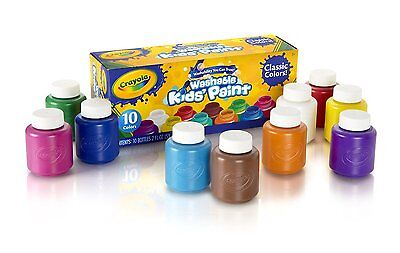 Crayola 54-1205 Washable Kids Paint, 2-Oz. Bottles, Assorted Colors 10 Ct. New