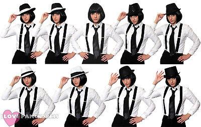 1920 Womens Gangster Costume (LADIES GANGSTER COSTUME KIT BOB WIG BRACES TIE WOMENS 1920'S FANCY DRESS)
