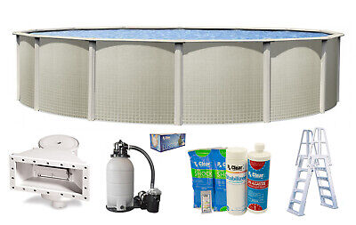 IMPRESSIONS Round Above Ground Swimming Pool w/ Liner, Sand Filter & Ladder Kit
