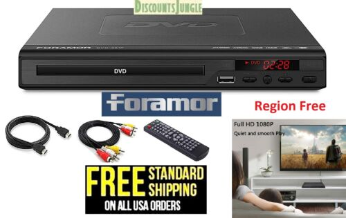 Foramor Region Free DVD-221P Home Full HD DVD Player Support 1080P RCA USB HDMI