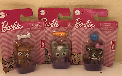 Barbie Pets Lot Of 3 Puppy Dog Bunny Rabbit Kitten Cat with Basket & Toys