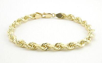"10k Yellow Gold Real Genuine 5mm Italian Diamond Cut Rope Chain Link Bracelet 8"""