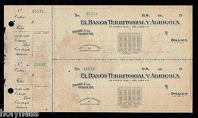Antique Bank Check   Banco Territorial Y Agricola   1900S   Puerto Rico   Rare