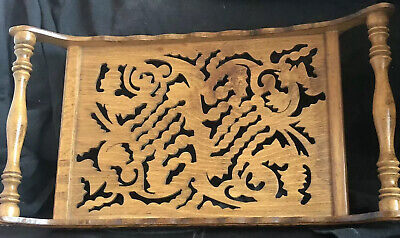 Vintage/Antique  Ornate Wooden Tray With Turned Handles & Pierced Decoration