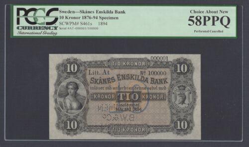Sweden Skanes Enskilda Bank 10 kronor 1894 PS461bs Litt At Specimen AUNC