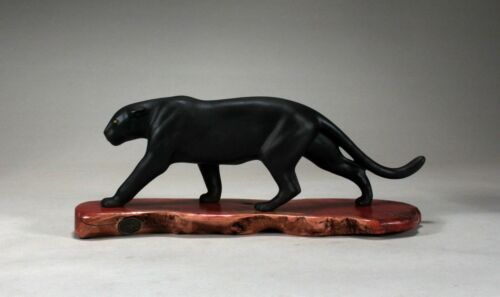 BLACK PANTHER JAGUAR by John Perry 15in long Sculpture New Direct from Studio