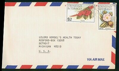 Mayfairstamps Trinidad & Tobago Flower Stamps to Michigan Airmail Cover wwo89297