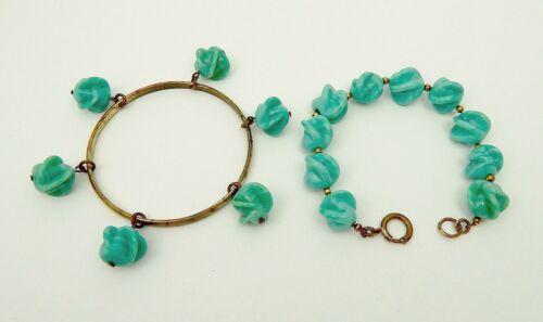 Louis Rousselet Green Poured Glass Bead Bracelet + Bangle w/Bead Dangles