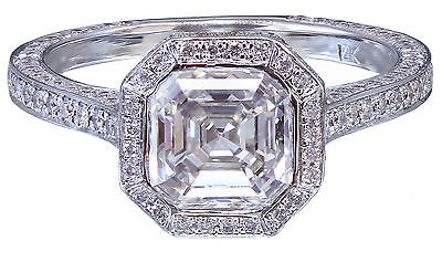 GIA H-VS2 14K White Gold Asscher Cut Diamond Engagement Ring Bezel 2.25ctw