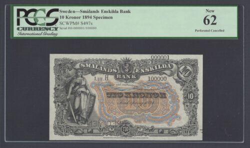 Sweden Enskilda Bank 10 Kronor 1894 PS497s Series H Specimen Uncirculated