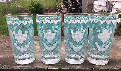 4 Vintage Turquoise & White with Gold Rim Drinking Glasses Tumblers  - Turquoise Drinking Glasses