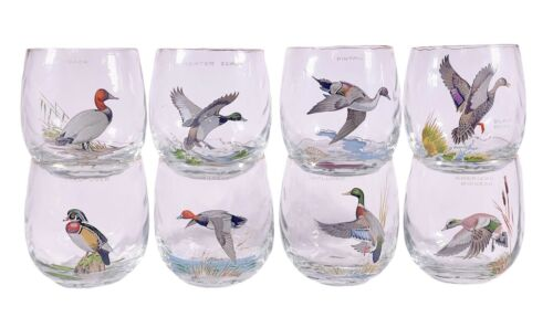 Vintage MCM Ned Smith Ducks Waterfowl Birds Optic Roly Poly Glasses Set Of 8