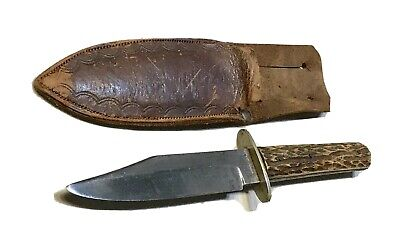 Vintage John Newton&Co Sheffield England Bowie Dagger Knife W/Sheath Stag Handle