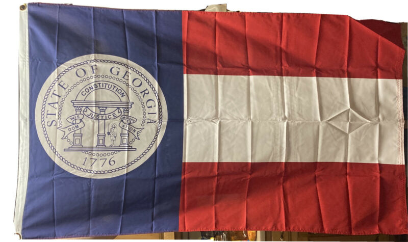 Vintage Georgia State Flag 3 X 5 100% Polyester Brass Grommets