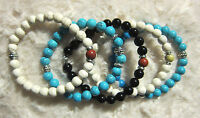 Ladies \ Men's Jade, Onyx, Turquoise Bracelets With Silver Spacers - 8 Mm. - designed by ewa maria \ handmade - ebay.co.uk