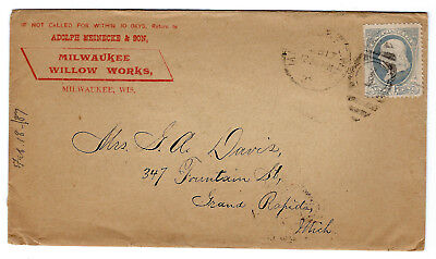 1887 Letter Cover Milwaukee Willow Works  Franklin 1 Cent Stamp Scott  156
