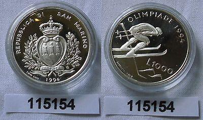 1000 Lira Münze San Marino Olympiade Lillehammer 1994 Skirennläufer (115154) ()