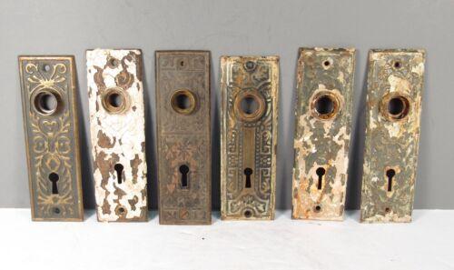 ANTIQUE DOOR BACKPLATES FANCY DESIGN GROUP OF 6  CHIPPY