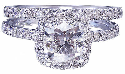 GIA G-VS2 18k White Gold Cushion Cut Diamond Engagement Ring And Band Halo 2.30c 11